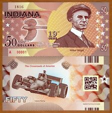 USA States, Indiana, $50, Polymer, ND (2016), P-N/L, UNC