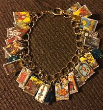 TAROT CARDS BRACELET FORTUNE TELLER  ALL 22 CHARMS RIDER WAITE DESIGNS GOLD TONE
