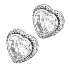 HEARTS Earrings 925 Solid Sterling Silver Sparkling Clear Stone Pave Studs Pins