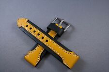 22MM Black WITH Yellow Arrow GENUINE LEATHER Watch Band,Strap HEAVY Solid Bucke