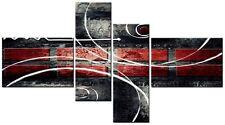 4 Paneles total 138x78cm tela pared arte abstracto impresión Fang 4 Negro/rojo