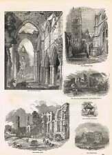 1854 Leicester Abbey VIew Tintern Abbey Winchester College Engravings