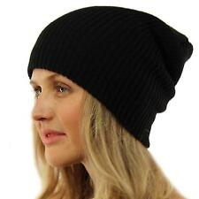 Winter Made in USA 2ply Stretch Knit Slouch Long Beanie Skully Ski Hat Cap Black