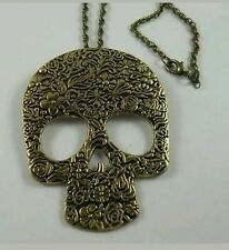 Vintage SKULL Skeleton Long chain necklace Gold Gothic USA Seller!! punk emo