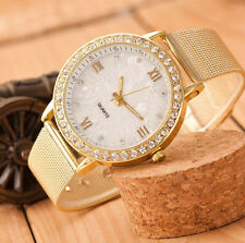 Classy Women Watch Crystal Roman Numerals Gold Mesh Band Ladies Wrist Watch UK