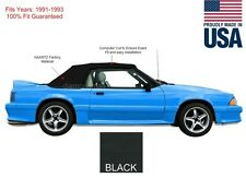 Ford mustang Convertible Soft Top With Plastic Window 1991-1993 Black Vinyl
