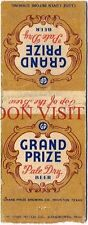 1950s Texas Grand Prize Pale Dry Beer Matchcover Tavern Trove