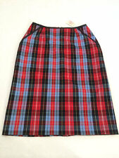 NWT Hanna Andersson Womens 6 Red Blue Plaid Classic Pencil Skirt Tartan Xmas