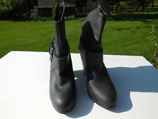 RAMPAGE LADIES BLACK LEATHER LIKE FASHION ANKLE  COWBOY BOOTS HEELS SIZE 10 M