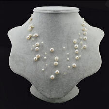 Genuine Cultured Freshwater Pearl 2-8mm White Multi Strand Pearl Necklace