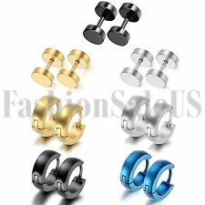 Men's Womens Stainless Steel Plain Cambered Hoop Huggie Dumbell Earrings 7 Pairs