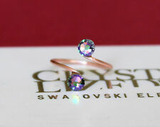 Rose Gold Plated Toe Ring with Paradise Shine Swarovski Crystal Elements