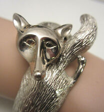 Rare Vintage Castlecliff Silver Tone Fox Hinged Clamper Bypass Bracelet A36