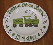 Hand painted personalised new baby birth gift plate train design
