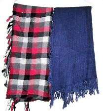LOT 2 Plaid Hijab Scarf Stole Wrap Scarves Fringe Tassel Large Square UNISEX 32""