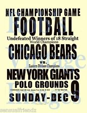 New York Giants  Chicago Bears Football Game poster 1934 NFL Man Cave  8 x11 s