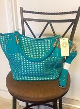 BIG BUDDHA Turquoise Blue Shoulder Bag Interlace Goldtone Braided Croosbody