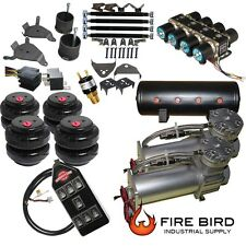 """Chevy S10 Air Kit Pewter 2500 Bags 1/2"""" Valve Black AVS 7 Switch xzx"""