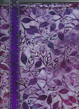 purple batik of leaves and stems, all cotton quilt fabric sold bthy