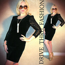 Vtg 80s FRANCE black VELVET+SEQUIN+CROCHET NETTING stretch BODYCON  MINI Dress