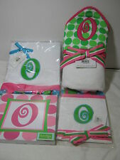 "4 pcs MUDPIE INITIAL ""O "" Hooded Bath Towel Burp Cloth Blanket Wall Hanging Pink"