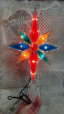 CHRISTMAS LIGHTED PLASTIC STAINED GLASS STAR TREE TOP TOPPER WINDOW DECORATION
