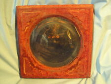 "Antique RED VELVET on Wood BEVELED Round Glass MIRROR wall hanging 11.25""x11.25"""