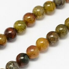 25 x Natural Crackle Agate Semi-Precious Gemstone Beads - 6mm - LB1045 *