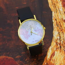 Fashion Womens Leather Alloy World Map Globe Analog Quartz Retro Wrist Watch CC