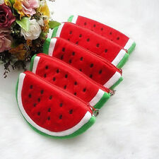 Girls Little Watermelon Portable Zipper Coin Purse Wallets Case Plush Bag Useful