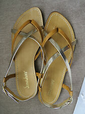 Women flat sandals with gold and tan brown straps size 5.5 UK, 39 Europe BNWB