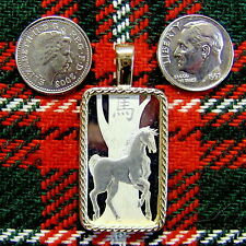 9ct gold New majestic horse bullion pendant with 10g fine silver bar ingot