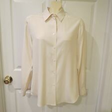 Charter Club Cream Color Button Down Blouse Size 10 Satiny/Sissy