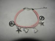 """PINK LEATHER CHARM BRACELET STARS PEACE SIGNS HEARTS CHRISTMAS GIFT! 6"""" to 8 1/2"""