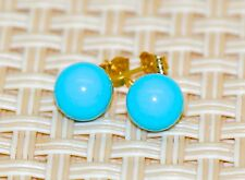 14k yellow gold blue turquoise ball push back stud earrings 4mm