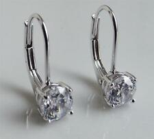 CLEAR DIAMONIQUE DQ CZ 1.0 CARAT STERLING SILVER 925 LEVERBACK EARRINGS NEW QVC