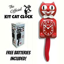 "SCARLET RED KIT CAT CLOCK 15.5"" Free Battery LIMITED EDITION New MADE IN USA"