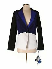 New Women Peter Pilotto For Target Blue White Jacket Blazer Color Block Size M