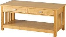 ASHMORE 2 DRAWER COFFEE TABLE IN ASH VENEER - FREE NEXT DAY DELIVERY