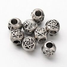 8 PENTACLE Engraved European Beads fits 4.5mm Cord Leather Hair PAGAN WICCAN