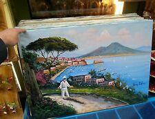 quadro Dipinto ad olio su tela 50x70 cm napoli panorama pulcinella  picture