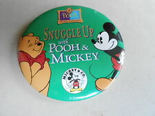 "VINTAGE 3"" PROMO PINBACK BUTTON #92-183 - DISNEY - SNUGGLE UP WITH POOH & MICKEY"