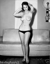 1960s nude pinup great breasts posing with leather couch 8 x 10  Photograph