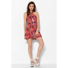 PINS & NEEDLES Small CORAL FLORAL MIDRIFF CRISS-CROSS DRESS Urban Outfitters S
