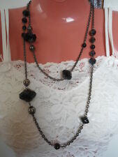 Designer LANE BRYANT Black Stone Beads Long Necklace Chunky $18.5