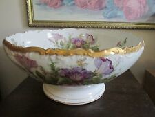 Limoges T&V Tressemann & Vogt France Handpainted Punch Bowl Flowers As Is