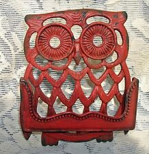 OWL Cast Iron Business Card Holder Desk Store Counter ~ Distressed Red ~