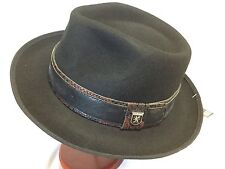 STACY ADAMS 100% WOOL TRILBY SMALL FEDORA S WOOL HAT 55cm BLACK/BROWN