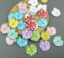 50pcs Wooden Buttons Dot Apple shape sewing or scrapbook craft High quality 21mm