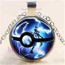 Pokemon Mew Ball Photo Cabochon Glass Dome Silver Chain Pendant Necklace